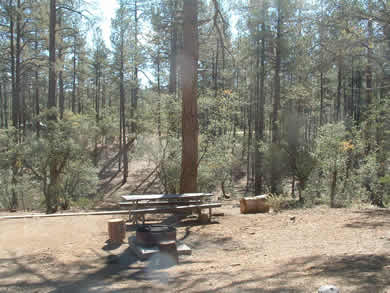 A campsite at Hilltop Campground.