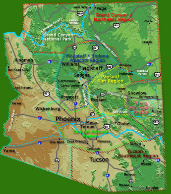 Arizona Camping Region Map for Camp Arizona