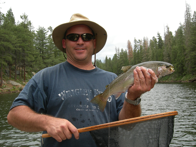 A fine trout landed at Woods Canyon Lake.